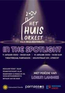Poster van Het Huisorkest in de spotlight, in samenwerking met Lorijn Lammes.